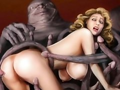3D Girls Attacked by Creatures!