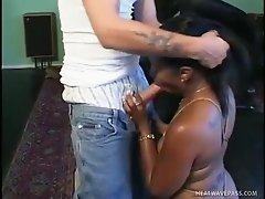 White dude switches places with black stud and fucks chubby black whore