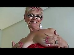 Red Lingerie Wearing Granny Shows Her Big Boobs