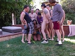 Bunch of horny white guys shagging the ebony chick in the backyard