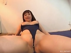 Curvaceous Asian girl in a swimsuit vibrates her sexy clit