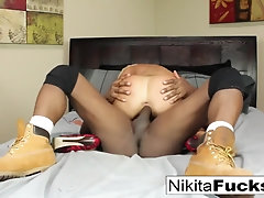 Sizzling light-haired Cougar Nikita Von James gets a XXL ebony pecker to have fun with